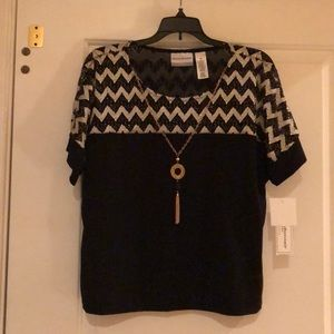 Alfred Dunner Petite Knit Top with Necklace